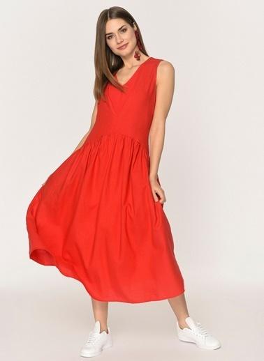 Loves You Robadan Büzgülü Keten Elbise Kırmızı